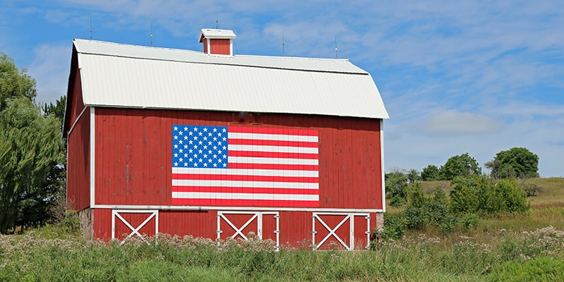 barn with flag image