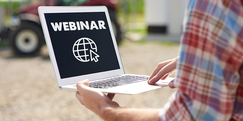 webinar laptop farmer
