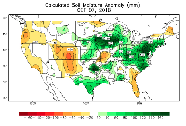 Calculated soil moisture anomoly