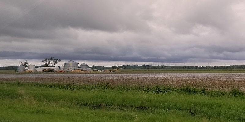 wet fields and grain bin collaspe - may 21